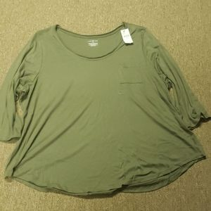 Olive 3/4 sleeve T-Shirt